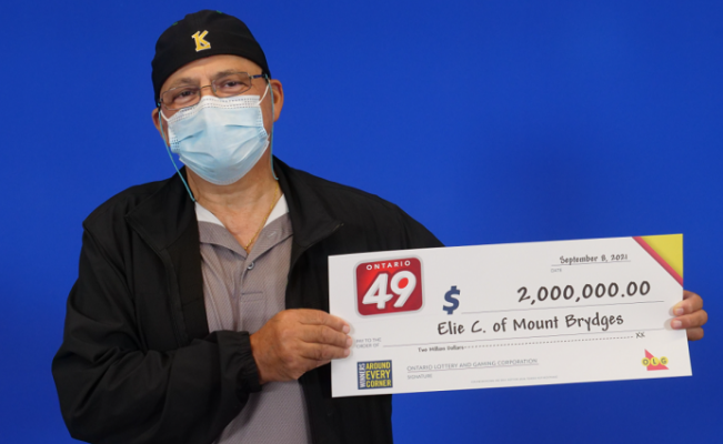 Elie Chebib of Mt. Brydges won $2 million in the August 11 Ontario 49 draw. Photo courtesy of the OLG.