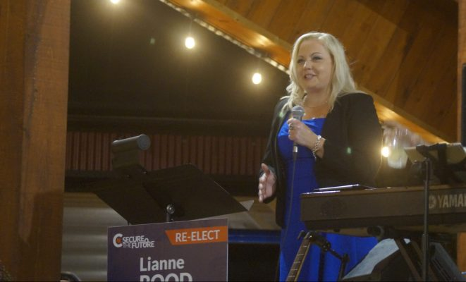 Lambton-Kent-Middlesex Conservative MP Lianne Rood speaks to a crowd of supporters after being re-elected in the 44th federal election. 20 September 2021. (BlackburnNews.com photo by Colin Gowdy)