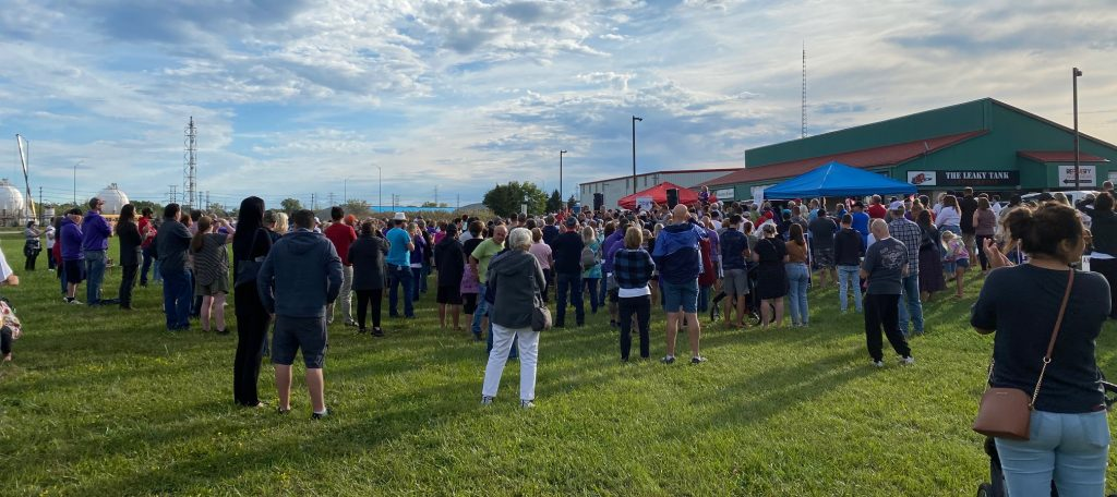 The crowd at Sarnia's rally with PPC leader Maxime Bernier in Sarnia. September 15, 2021