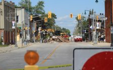 Crews work to remove debris from the site of an explosion in Wheatley on Wednesday, September 8, 2021. (Photo by Millar Hill)