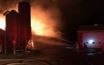 London firefighters battling a barn fire on Westminster Drive, September 22, 2021. Photo courtesy of the London Fire Department.
