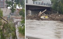 Debris gathers at the Fifth Street Bridge in Chatham. September 26, 2021. (Photo courtesy of @hedzup00 via Twitter)