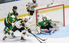 Sarnia Sting forward Max Namestnikov attempts a wraparound play in a preseason game versus the London Knights. September 2021. (Photo by Metcalfe Photography)