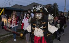 Zombie Pirate Capt. Hindgrinder (Micheal Reeve) leading Windsor Zombie Walk as it departs from Scarehouse Windsor. Photo by Eric Bonnici.