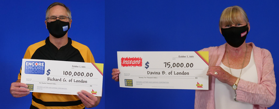 Richard Goldrup and Davina Baillie show off their lottery winnings at the OLG Prize Centre in Toronto. Photos courtesy of OLG.