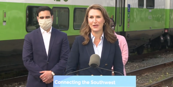 Transportation Minister Caroline Mulroney speaks about Go Train service while in London, October 13, 2021. Image from the Ministry of Transportation twitter.